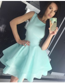 Jewel Cyan Fit & Flare Satin Homecoming Dress with Layered Skirt HD3318