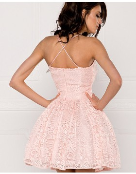 A-line Spaghetti Straps Blush Pink Lace Homecoming Dress HD3319