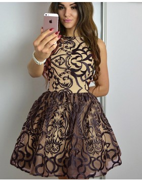 A-line Jewel Nude Lace Pleat Short Homecoming Dress HD3321