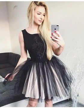 Scoop Black Satin Homecoming Dress with Pleated Tulle Skirt HD3322