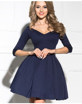 Off the Shoulder Black Satin Ball Gown Homecoming Dress with 3/4 Length Sleeves HD3323