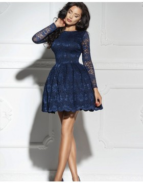 Jewel Navy Blue Lace A-line Homecoming Dress with Long Sleeves HD3324