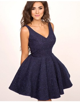 A-line V-neck Navy Blue Pleated Lace Homecoming Dress HD3325
