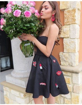 Strapless Black Satin Applique Homecoming Dress with Pockets HD3326