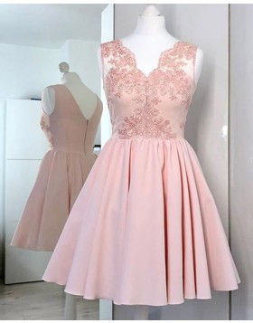 V-neck Pink Lace Applique Bodice Satin Homecoming Dress HD3327