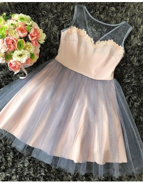 V-neck Chiffon and Tulle Short Party Dress with Sparkling Skirt HD3328