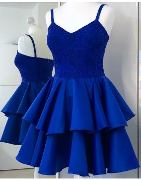 Spaghetti Straps Royal Blue Lace Bodice Homecoming Dress with Layered Skirt HD3330
