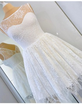 A-line Scoop Ivory Lace Fit & Flare Homecoming Dress HD3332