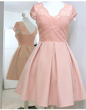 V-neck Lace Pink Pleated Short A-line Homecoming Dress HD3335