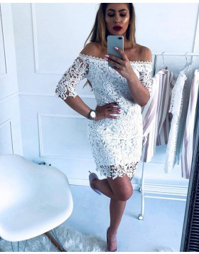 Off the Shoulder Lace Tight Club Dress with Half Length Sleeves HD3339