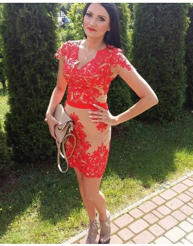 V-neck Red Lace Appliqued Tight Short Formal Dress with Cap Sleeves HD3340