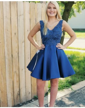 A-line V-neck Beading Satin Blue Short Homecoming Dress HD3343