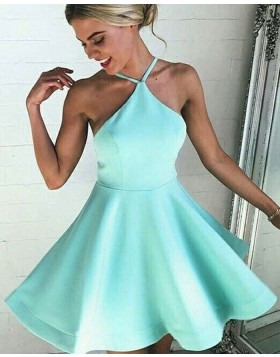 Spaghetti Straps Cyan Satin A-line Simple Homecoming Dress HD3345