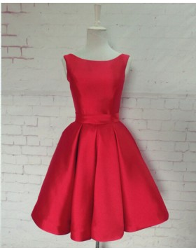 Scoop Satin Pleated Red Homecoming Dress with Bowknot HD3346