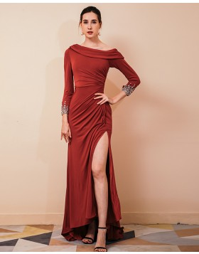 Ruched Burgundy Satin Side Slit Evening Dress with Beading Long Sleeves QS441050