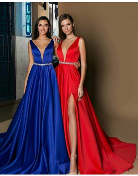 Elegant Deep V-neck Satin Long Evening Dress with Side Slit BD2002