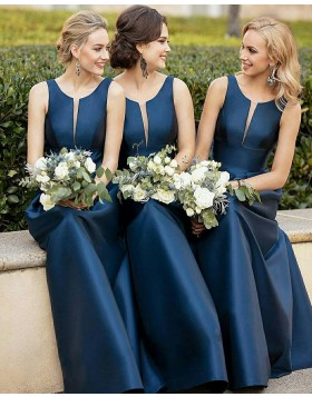 Scoop Neck Navy Blue Empire Mermaid Satin Bridesmaid Dress BD2004
