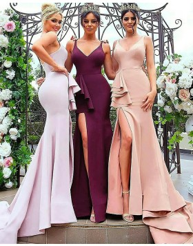 Elegant V-neck Satin Mermaid Long Evening Dress with Side Slit BD2008