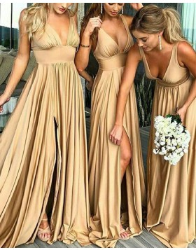 Floor Length V-neck Champagne Bridesmaid Dress with Side Slit BD2009