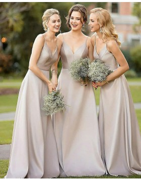 Simple Spaghetti Dusty Brown Satin Floor Length Bridesmaid Dress BD2010