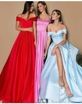 Long Simple Off the Shoulder Pleated Evening Dress with Front Slit BD2011