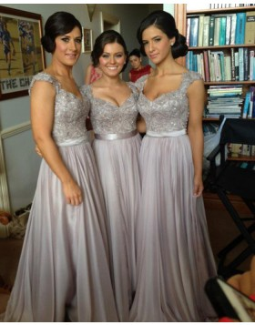 Grey Queen Anne Appliqued Chiffon Long Bridesmaid Dress BD2012