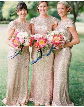 Jewel Gold Sequined Mermaid Long Bridesmaid Dress with Cap Sleeves BD2014