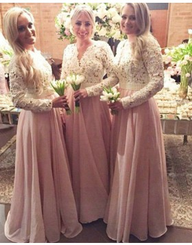 V-neck White and Pink Lace Bodice Long Bridesmaid Dress with Long Sleeves BD2015