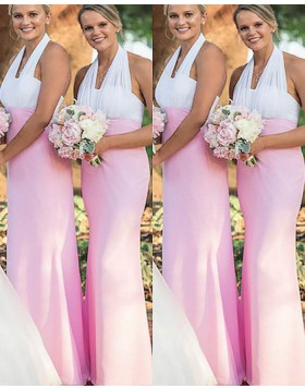 White and Blush Halter Long Mermaid Empire Bridesmaid Dress BD2017