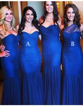Simple Sweetheart Royal Blue Pleated Mermaid Long Bridesmaid Dress BD2019