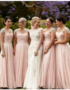 Floor Length Ruched Pink Tulle Bridesmaid Dress with Appliqued Cap Sleeves BD2021