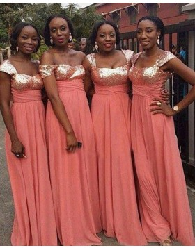 Square Sequined Bodice Coral Long Empire Bridesmaid Dress BD2022