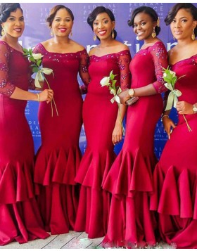 Off the Shoulder Red Beading Satin Mermaid Bridesmaid Dress with 3/4 Length Sleeves BD2023