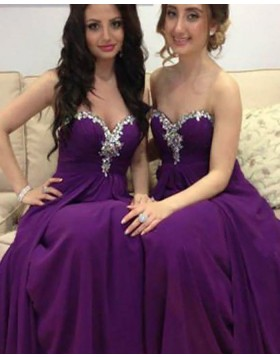 Sweetheart Beading Ruched Purple Long Bridesmaid Dress with Detachable Skirt BD2026