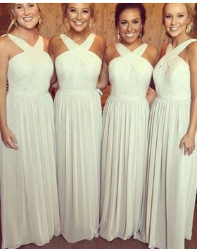 Crisscross Ivory Ruched Floor Length Chiffon Bridesmaid Dress BD2027