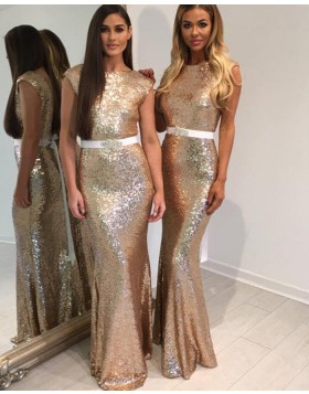 Jewel Gold Sequined Mermaid Long Bridesmaid Dress with Belt BD2030