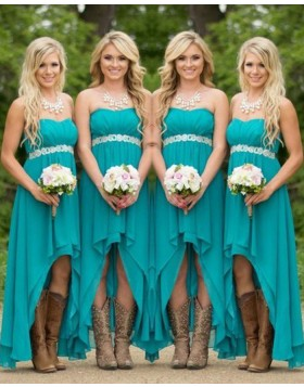 High Low Chiffon Strapless Teal Empire Bridesmaid Dress with Belt BD2031