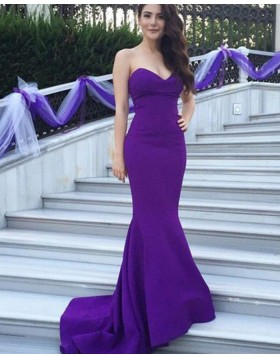 Simple Blue Sweetheart Mermaid Satin Evening Dress BD2032