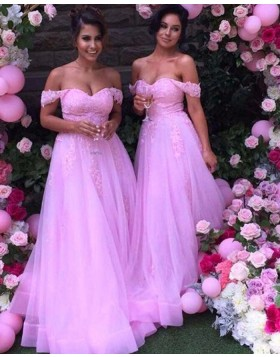 Off the Shoulder Lace Appliqued Blush Pink Tulle Bridesmaid Dress BD2034