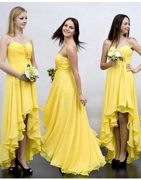 High Low Spaghetti Straps Ruched Flower Chiffon Yellow Bridesmaid Dress BD2035