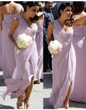 One Shoulder Lavender Ruched Chiffon Long Bridesmaid Dress with Slit BD2036
