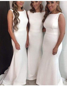 Bateau White Simple Satin Mermaid Floor Length Bridesmaid Dress BD2037