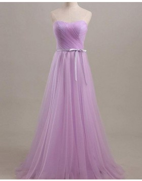 Sweetheart Light Purple Ruched Tulle Bridesmaid Dress with Belt BD2038