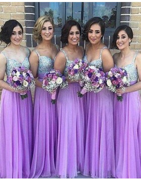 Square Sequined Bodice Chiffon Purple Long Bridesmaid Dress BD2039