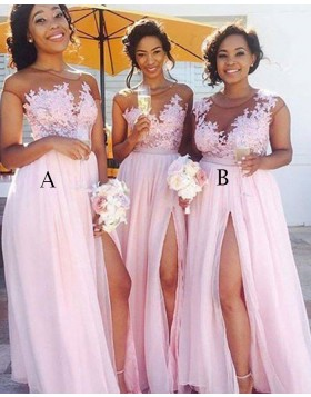 Sheer Appliqued Bodice Chiffon Pink Bridesmaid Dress with High Slit BD2041