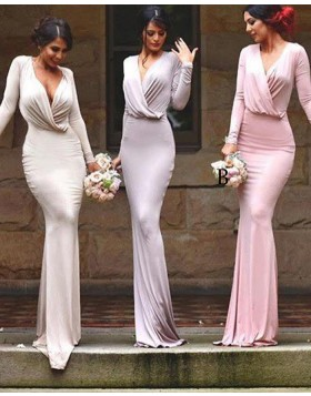 Simple V-neck Ruched Mermaid Bridesmaid Dress with Long Sleeves BD2042