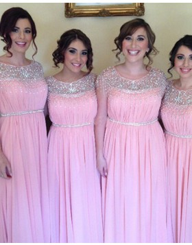 Jewel Beading Ruched Chiffon Pink Pleated Bridesmaid Dress BD2045