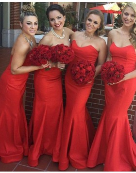 Simple Sweetheart Red Mermaid Satin Bridesmaid Dress BD2047