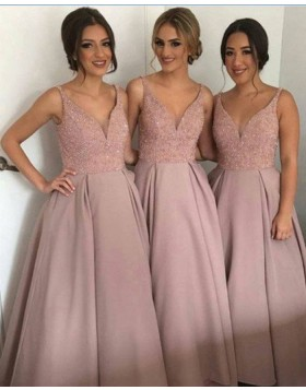 V-neck Blush Beading Bodice Satin Ball Gown Bridesmaid Dress BD2049