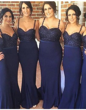 Navy Blue Beading Spaghetti Straps Satin Mermaid Bridesmaid Dress BD2050